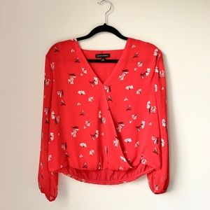 Banana Republic Red Feather Wrap Blouse